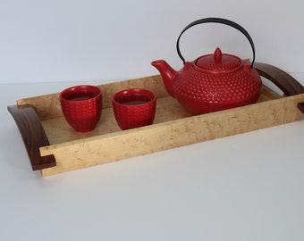 Service Tray in Maple and walnut, handmade