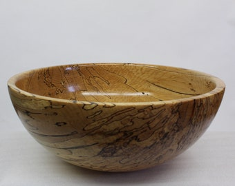 Large fruit bowl or serving bowl in solid wood, hand-turned in an artisanal way, unique centerpiece
