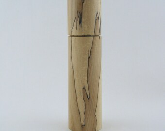Spices and peppermill grinder in spalted Maple , Cylinder  style with rod mechanisme  10 in X 2 1/2 D item no: 716