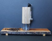 Coffee grinder. Body made from negundo maple, lid and base made from black walnut, mechanism in ceramic