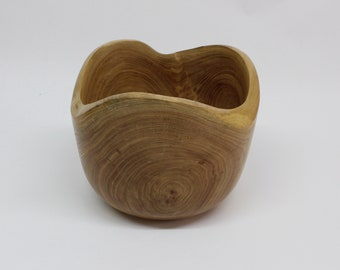 Decorative wooden bowl with natural rim, hand-turned, fruit bowl, table center, gift for kitchen