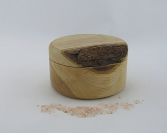 Small pot made from cherry. Rustic design.  4 1/4 X 3 1/8, can be used as spice box or jewelery box.Item 357