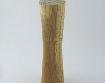 Spices and peppermill grinder in spalted Maple , Elegant style  9, in. X 2,375 Diam. item no: 991