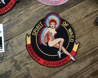 Risque' Giant Topless 1970s Spirt of Waco A-26 WWII Flightsuit Giant Backpatch.