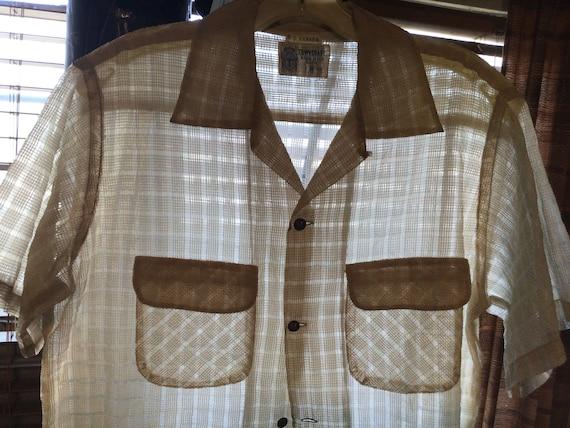 50s Towncraft Nylon Sheer Sport Shirt sz M