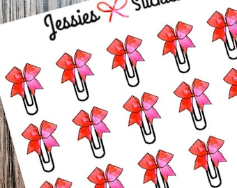 Red/Pink Watercolor Bow Paperclip Stickers