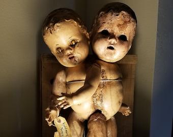 Nightmare Nancy OOAK Creepy conjoined antique doll sculpture