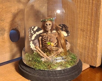 NEW Mummified Fairy specimen in Cloche bell jar handmade art OOAK Fae fairey cryptozooology creature for Cabinet of curiosity