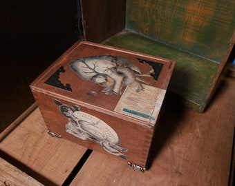 Antique rustic style skull / heart/ flowers Cigar jewelry box vintage wood restored