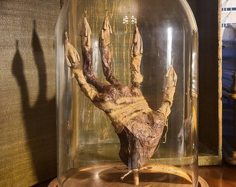 NEW item! Hand of Glory mummified OOAK sculpture in glass cloche with wooden base Alchemy Magical