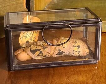 Cursed mummified human deadman's finger sculpture in glass case - cabinet of curiosities - Runes -Alchemy anglo saxon oddities oddity