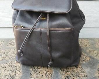 32457c6340c4 Small Medium Backpack Shoulder Bag Black Drawstring Leather
