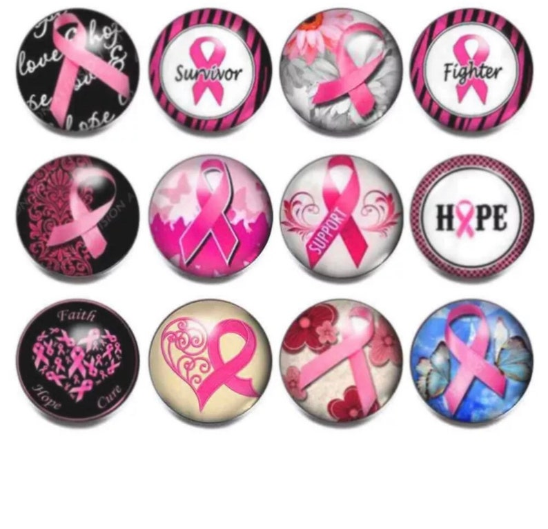 Support Breast Cancer Awareness Ribbon Snap Charm