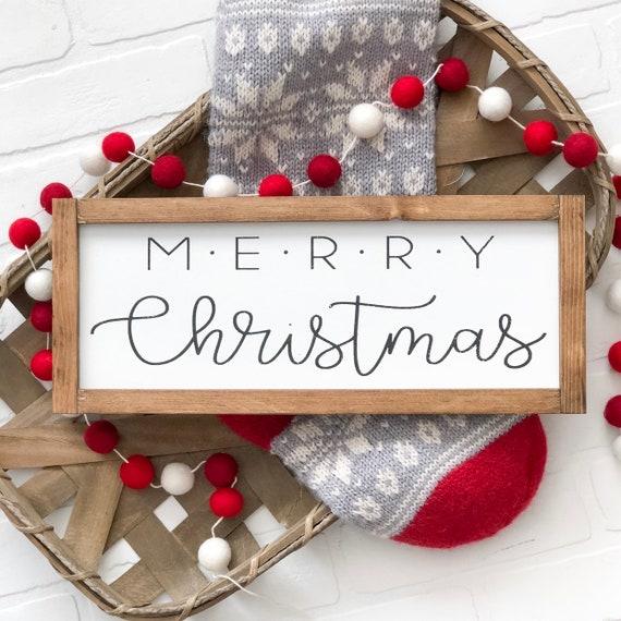 Merry Christmas Sign Farmhouse Christmas Christmas Decor Etsy
