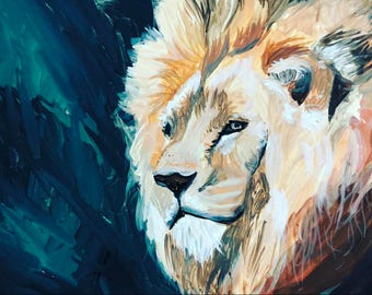 Brave Lion | Gouache Painting on Clay Board | 5% Pledged to Environmental Causes