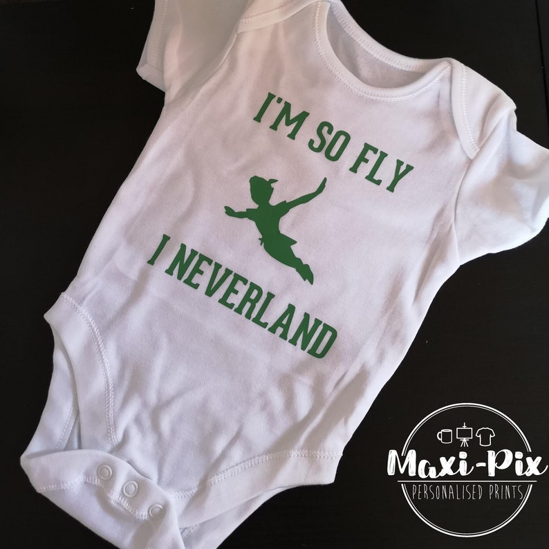 dbf05ef92 Peter Pan I'm so fly I Neverland Baby Grow Heat Vinyl | Etsy