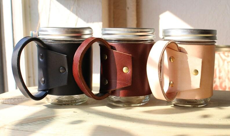 Leather Mason Jar Sleeve image 0