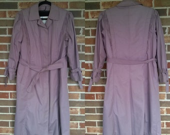 8P 1970s Lavender Purple Mauve London Fog Trenchcoat Maincoat with Removable Liner