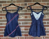 1970s Navy Red White Blue Retro Skirted One Piece Bathing Suit Swimsuit Playsuit, 10 12