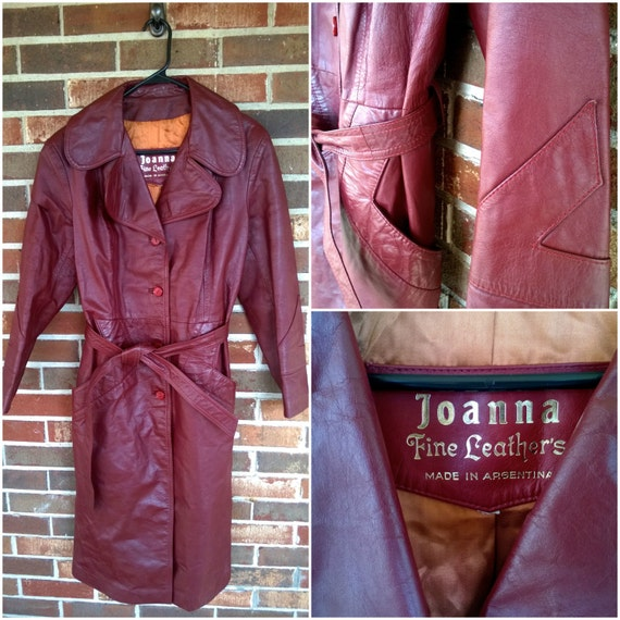 Perfect Red/Brown Leather Trench M/L, Made in Arge