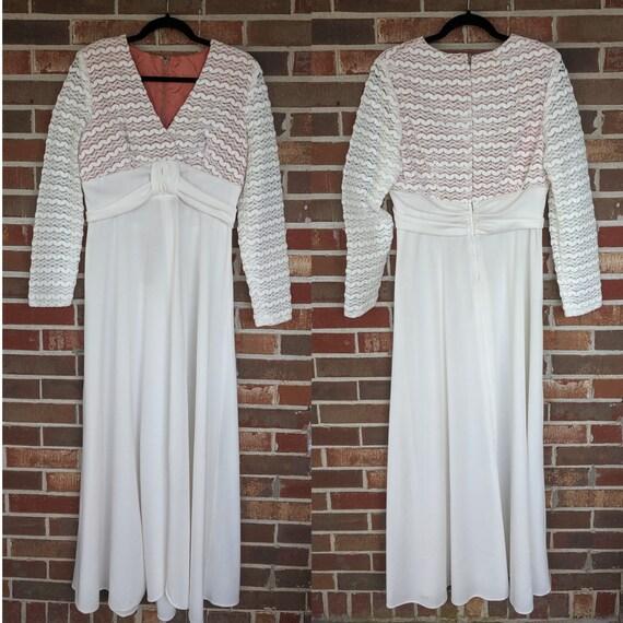 1970s Floor Length White Wedding Dress with Mod La