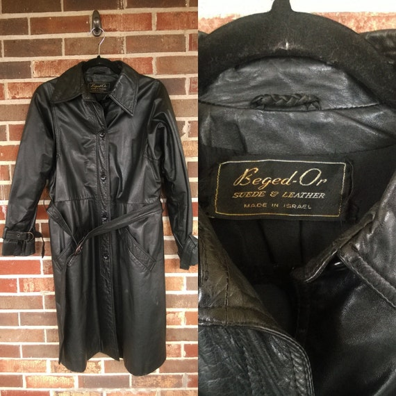 1970s Black Leather Trench, Made in Israel, 12