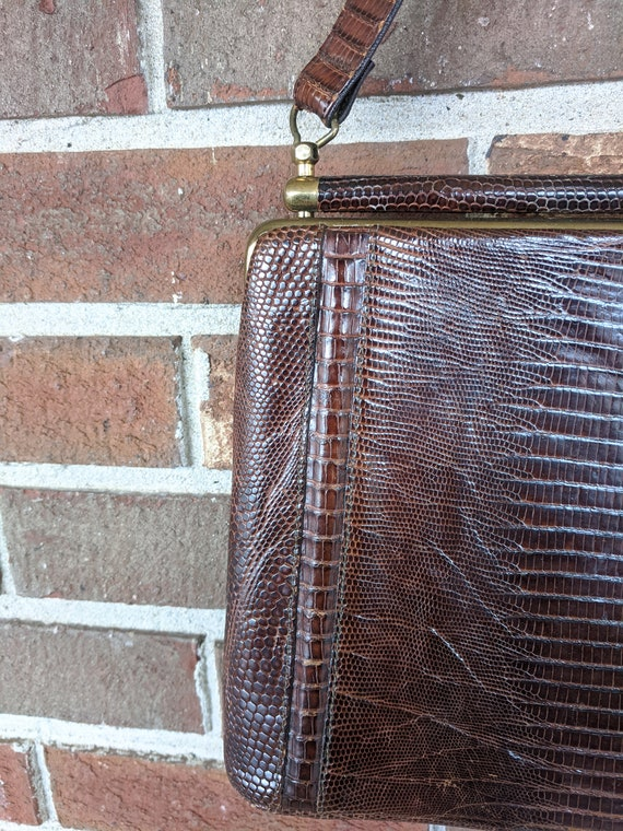 1940s 1950s Brown Snakeskin Leather Formal Kelly … - image 4