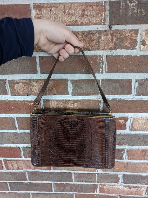 1940s 1950s Brown Snakeskin Leather Formal Kelly … - image 9