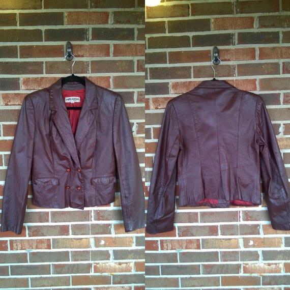 1970s Dark Oxblood Brown Leather Blazer Jacket, 11