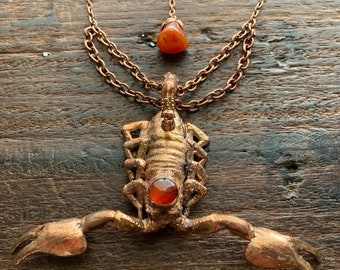 Large Scorpion Necklace Scorpio Copper Carnelian Real Statement Jewelry Egyptian Revival One-of a Kind Gift