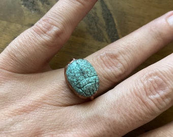 Scarabeo Turquoise Scarab Beetle Egyptian Revival Copper Ring Statement