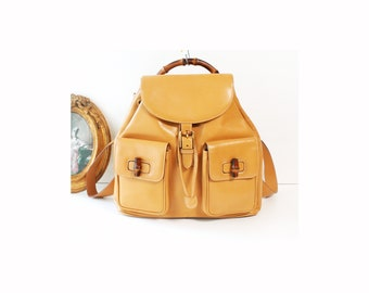 d16f1f83da0 GUCCI Bamboo Handle Yellow Mustard Leather Backpack vintage authentic