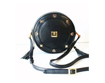 a9d606bd9c8f MCM Bag Black Tambourine shoulder cross handbag authentic vintage purse