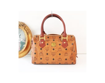8d45d44723d0 MCM Visetos Cognac Brown Monogram Boston tote handbag authentic vintage