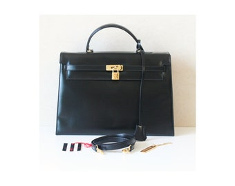 76732abcd0 Authentic Valentino Le Sacs vintage Black Leather Birkin style Kelly 2 Way  Tote shoulder bag