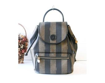 Vintage Fendi Italy PVC Leather back pack hand bag Authentic 1cc0b243e6f8d