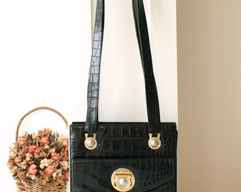 bf6f76e3b128 Versace Bag Crocodile Leather Medusa Authentic Vintage Handbag