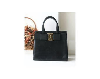 a4f171df6c Ferragamo vara black leather vintage tote bag authentic purse