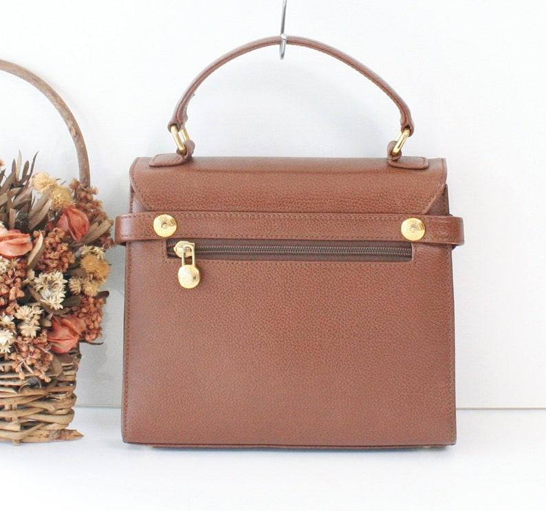 e422da0ed3a Vintage Burberry Brown Leather tote handbag Authentic Rare   Etsy