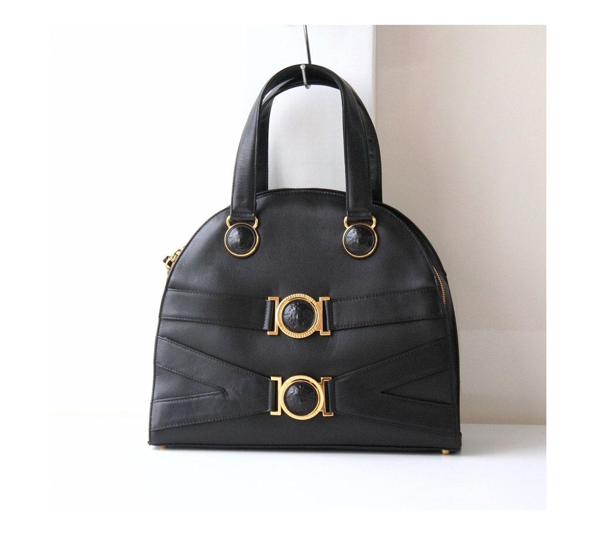 Gianni Versace Bag Black Medusa Leather Tote Authentic Vintage  ec2ff7f5fccac