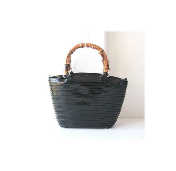 18f5e16475f Authentic GUCCI Bamboo Black Patent Leather tote bag