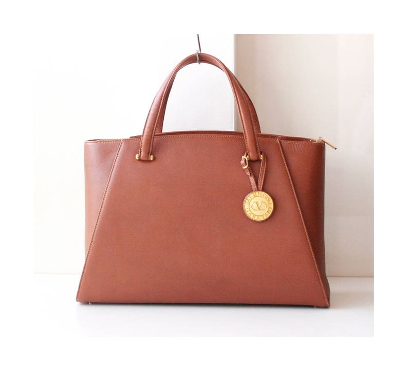 809df54fefe6a Valentino Garavani Brown Leather Tote Kelly Large handbag Gold