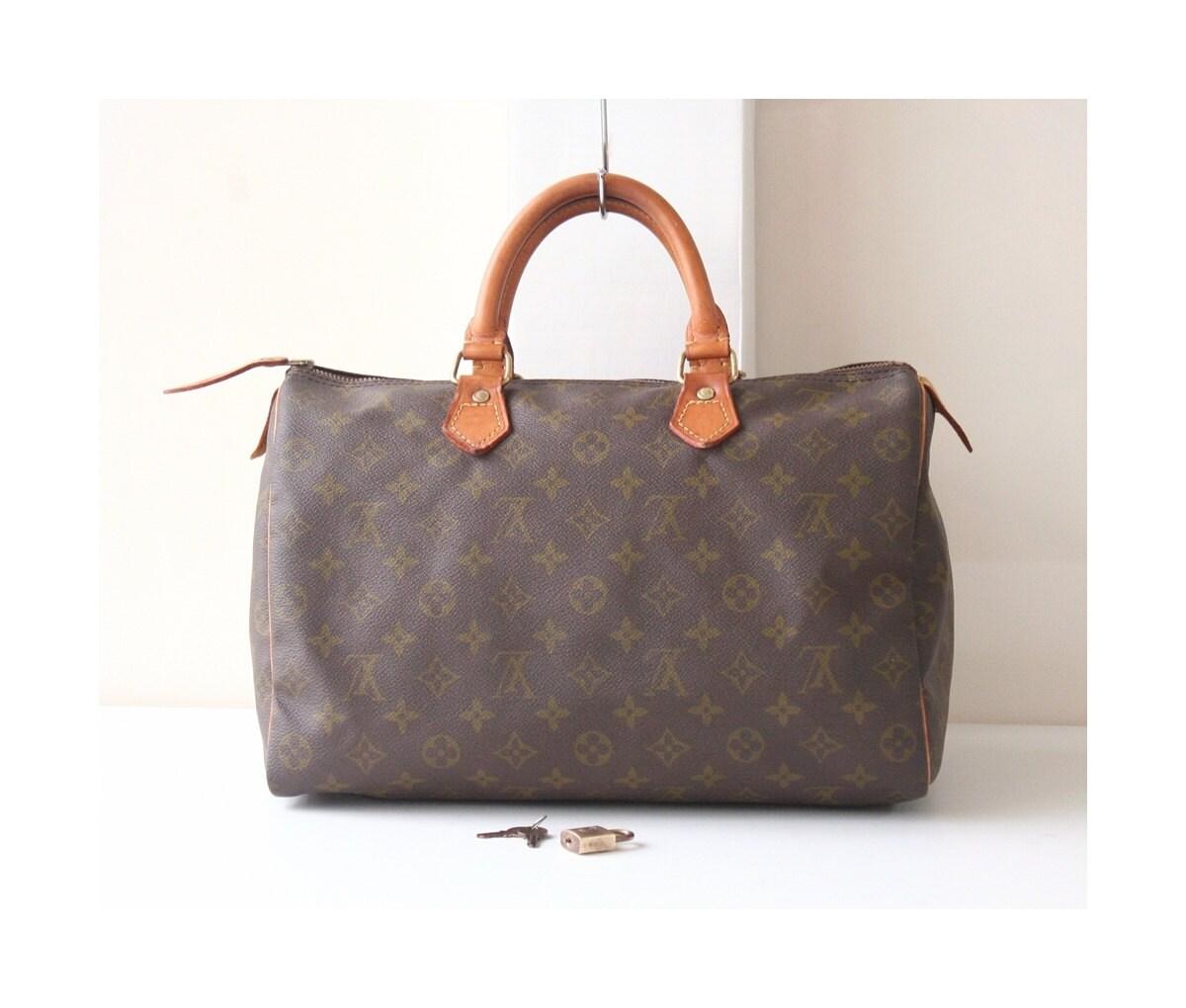 fb589f61398b Louis Vuitton Speedy 35 monogram tote bag brown bag vintage