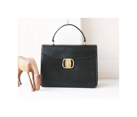 Salvatore Ferragamo Black Leather Classic Gancini Vera tote   Etsy dc30890269