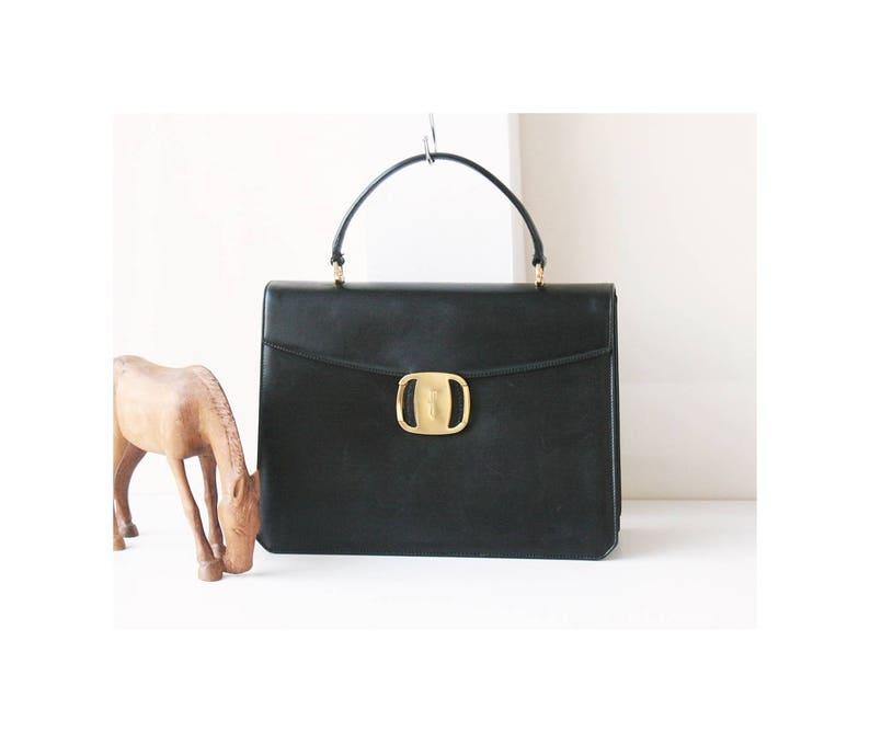49ce65918c Salvatore Ferragamo Black Leather Classic Gancini Vera tote
