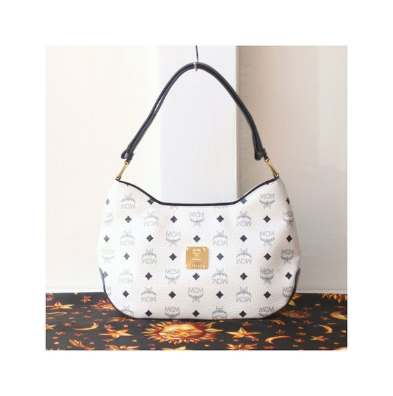 32360f3aca60 MCM Visetos White Navy 2Way shoulder handbag authentic vintage