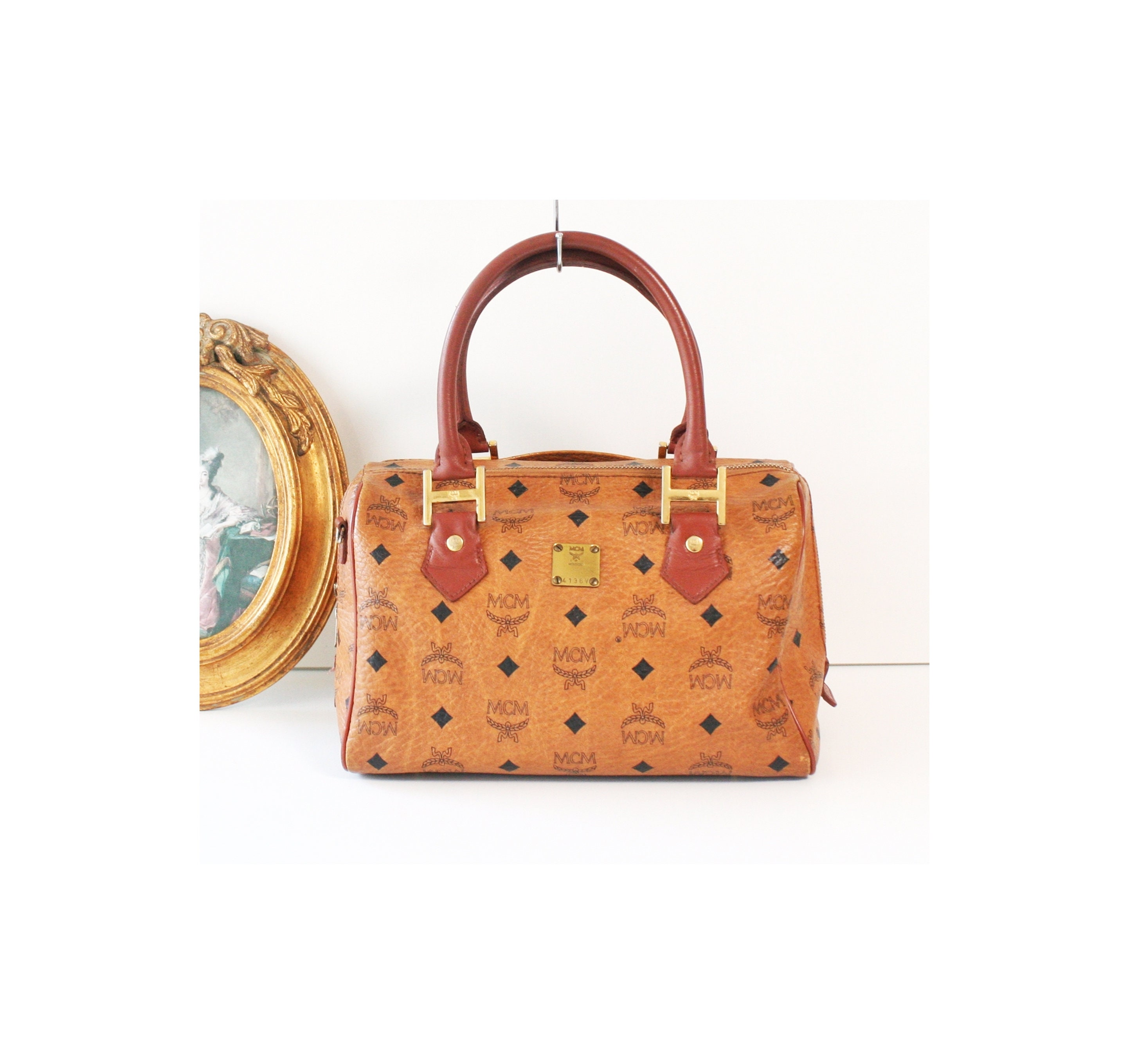 cfb151a76cfb MCM Visetos Cognac Brown Monogram Boston tote handbag