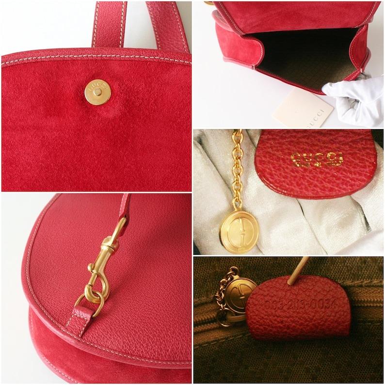ca63745f162b Authentic Gucci Backpack Red Suede vintage handbag Horsebit | Etsy