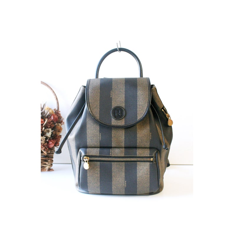 d708bc0b960 Vintage Fendi Italy PVC Leather back pack hand bag Authentic