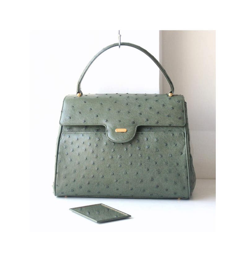f2dd3919870 Bally ostrich leather tote authentic vintage handbag Prestine